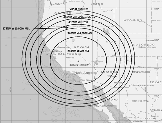 Map showing the area affected by the GPS weapons tests conducted at China Lake Navy Weapons Center in June 2016