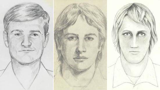 Police sketches of the East Area Rapist (EAR), the Golden State Killer, Original Night Stalker (ONS)
