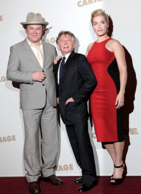 Roman Polanski with John C. Reily and Kate Winslet (at screening of Polanski's movie Carnage