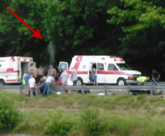 Photo from a motorcycle accident in Stanton, Kentucky shows man's spirit leaving body