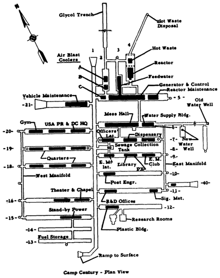 Diagram illustrating the layout of Camp Century