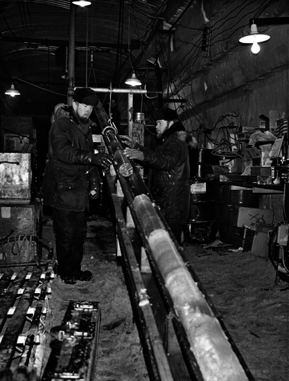 Engineers drill an ice core at Camp Century