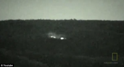 Still image taken from infamous video of the Brown Mountain Lights