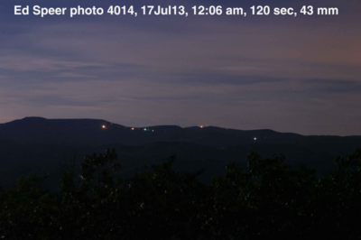 Reportedly a photo of the Brown Mountain Lights