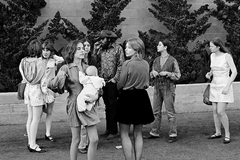 The Manson Family outside of the Justice Hall during the Manson Family trial