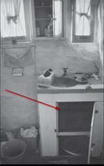 The bathroom sink in the Barker Ranch house - Manson was found hiding here during the raid