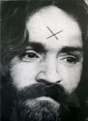 "Charles Manson - ""X"" carved into his forehead"