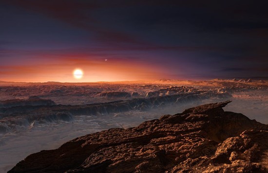 Artist rendition of Proxima-B's surface