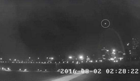 Strange light orbs over St. Louis' Gateway Arch