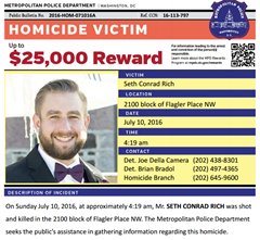 Reward poster distributed by the Metropolitan Police Department