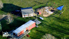 Aerial view of Steven Avery's home while marked off as a crime scene