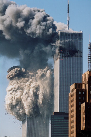 South Tower of World Trade Center collapsing