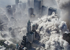 Aerial view of World Trade Center towers collapsing
