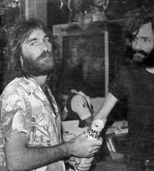 Charles Manson (right) with Beach Boys Dennis Wilson (left)