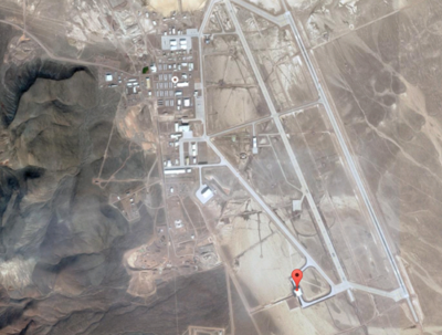Arrow marks the spot of new construction on Area 51 base