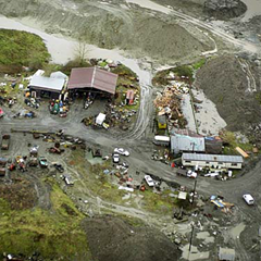 Pickton pig farm during police excavation