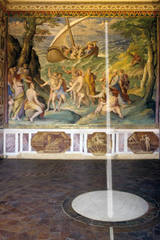 In the Tower of Winds the spot is marked where a ray of sunlight falls at noon on the spring equinox through a hole in the fresco 'The Calming of the Storm.'