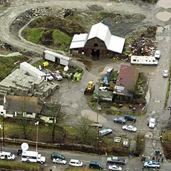 Pickton pig farm during police excavation