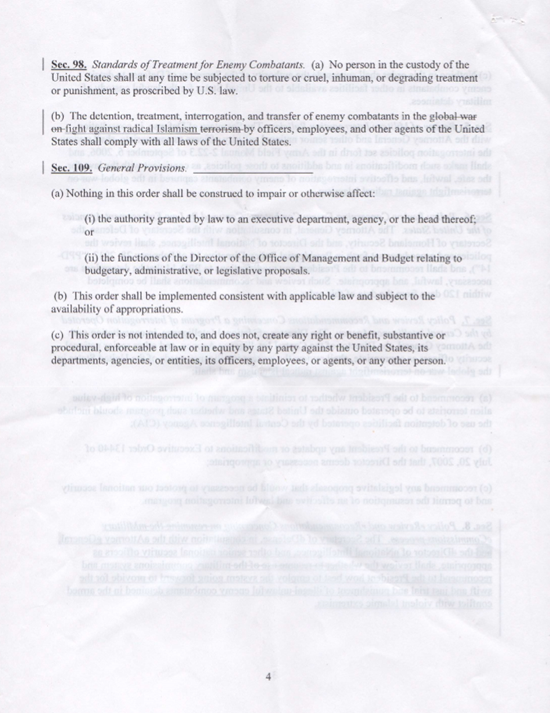 Purported leaked White House Executive Order regarding the detention and interrogation of enemy combatants