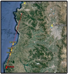 Route the Chilean Navy helicopter flew during the sighting