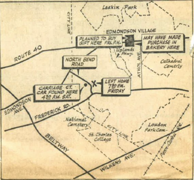 Map showing Sister Catherine Cesnik's last known movements