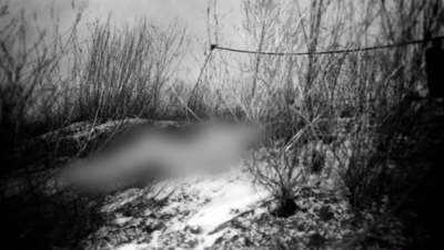 Sister Cesnik's body (blurred) at location it was found