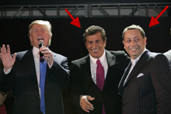 Donald Trump with Tevfik Arif (middle, arrested for prositution ring) and Felix Sater (right, convicted for fraud)