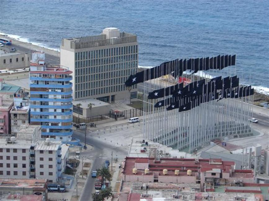 Aerial view of the US Embassy in Cuba