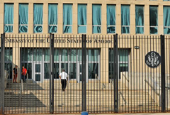 Front entry to the US Embassy in Cuba