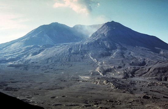 Mount St. Helens after 1980 eruption