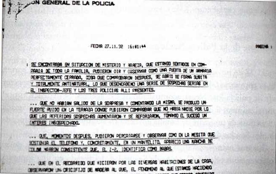 Official police report documenting The Vallecas Case