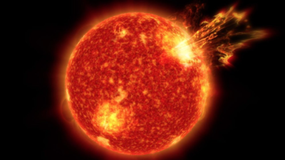 Solar flare erupting from Sun's surface