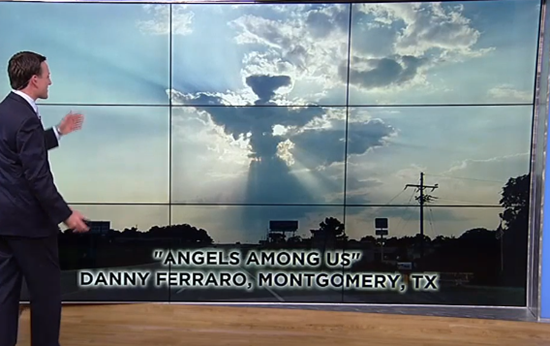 Giant cloud like a perfectly shaped angel over Houston