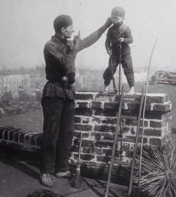 Master chimney sweep forcing young boy down chimney