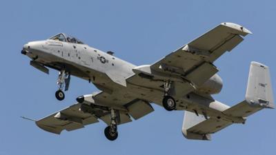 AC-10 Thunderbolt II jet in flight