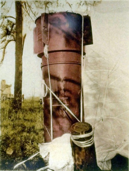 One of the Mk 39 nuclear weapons at Goldsboro, largely intact, with its parachute still attached